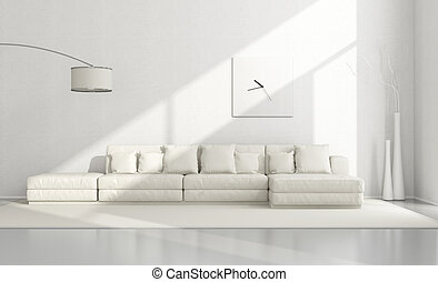White minimalist living room with elegant sofa,floor lamp...