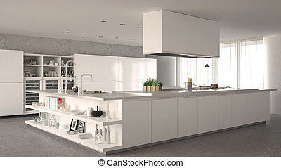 White minimalistic kitchen, interior design