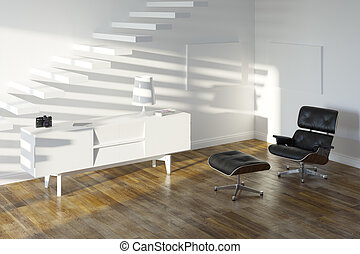 White Minimalistic Room