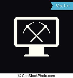 White Mining concept with monitor and pickaxe icon isolated on black background. Blockchain technology, cryptocurrency mining, digital money market. Vector Illustration