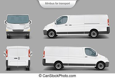 White minivan front, back, side view