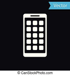 White Mobile Apps icon isolated on black background. Smartphone with screen icons, applications. mobile phone showing screen. Vector Illustration