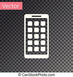 White Mobile Apps icon isolated on transparent background. Smartphone with screen icons, applications. mobile phone showing screen. Vector Illustration