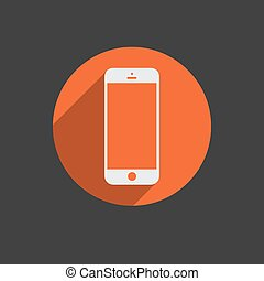 White mobile phone with blank screen isolated on white background. Vector EPS 10