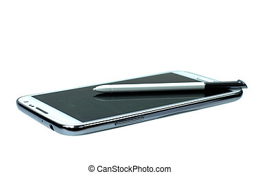 White mobile phone with stylus pen. easy to work with this...