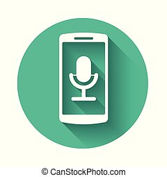 White Mobile recording icon isolated with long shadow. Mobile phone with microphone. Voice recorder app smartphone interface. Green circle button. Vector Illustration