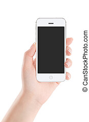 White mobile smart phone with blank screen in female hand -...