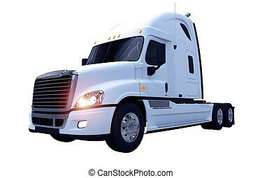White Moder Semi Truck - White Modern Semi Truck Isolated on...