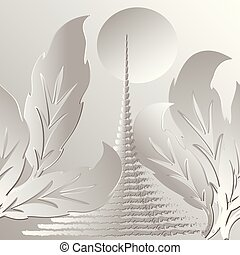 White modern 3d vector seamless pattern. Abstract stairway to Heaven. Floral ornamental trendy light background with Baroque style leaves and steps to the sun. Decorative design. Ornate illustration.