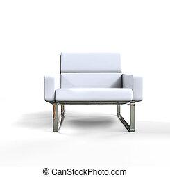 White modern armchair