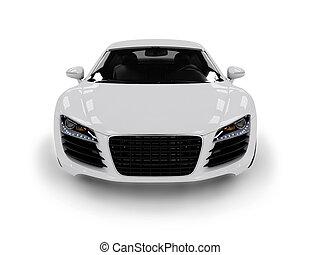 White modern car isolated on black background. isolated on...