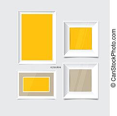 White modern frames on the wall, vector illustration.