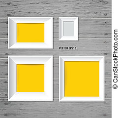 White modern frames on the wood wall, vector illustration.