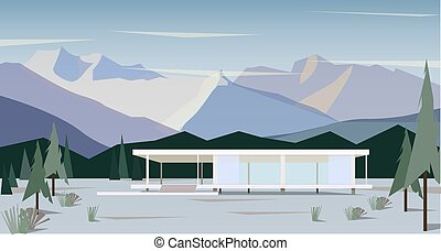 white modern house in snowy mountains, vector