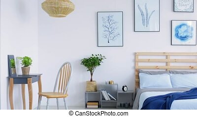 White modern interior with blue accents animation - White...