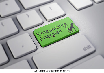 Modern keyboard with green renewable energy key