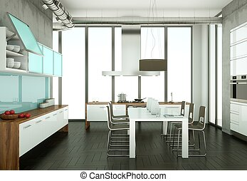 White modern kitchen in a room with cooncrete wall