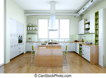 White modern kitchen with green elements interior design