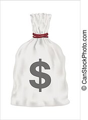 white money bag vector on white background