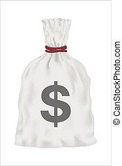 white money bag vector on white background