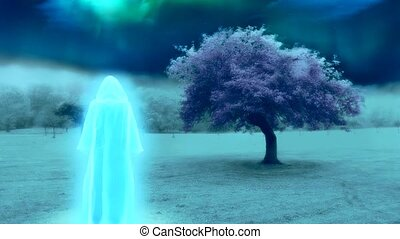 White monk in surreal landscape with purple tree