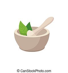 White mortar and pestle cartoon icon on a white background