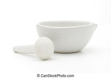 white mortar and pestle - White mortar and pestle over white...