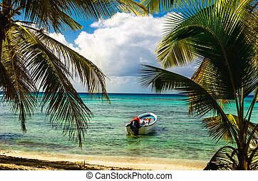White motorboat moored on exotic coast with beautiful ...