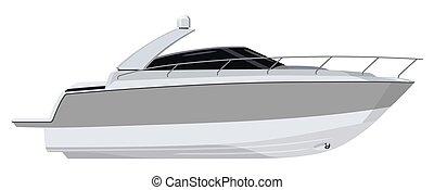 White motorboat on white background