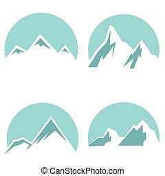White mountain flat icons on blue background