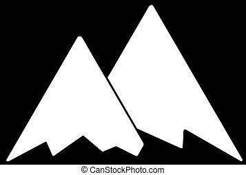 White Mountains Flat Icon on Black Background