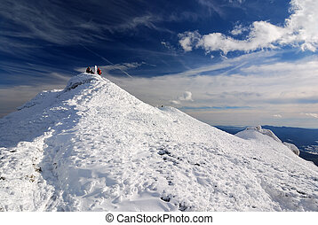 White mountains in winter time, Carpathians in Romania