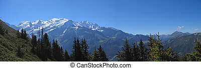 White mountains with snow, Aiguillette des Houches, Brevent,...