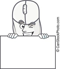 White mouse cartoon character with funny face hides behind a board