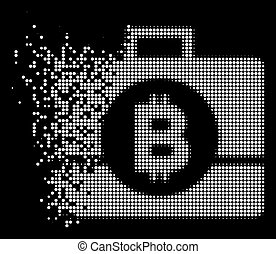White Moving Pixelated Halftone Bitcoin Business Case Icon...