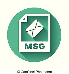 White MSG file document icon. Download msg button icon isolated with long shadow. MSG file symbol. Green circle button. Vector Illustration