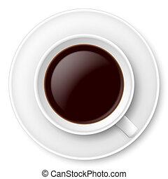 White mug of coffee and saucer