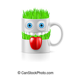 White mug of two parts with two eyes, teeth and tongue, grass inside