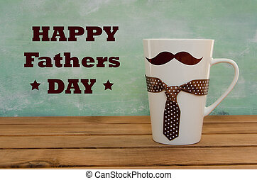 White mug on wooden background with mustaches. Father's Day funny greeting card