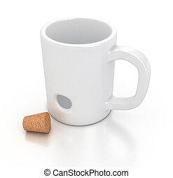 White mug - Illustration of a white mug with an hole