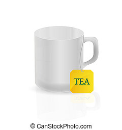 white mug with a tea bag