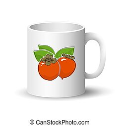 White Mug with Orange Persimmon