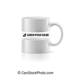 White mug with space in the middle - White mug with linear...