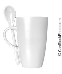 White mug with spoon empty blank for coffee or tea isolated on white background