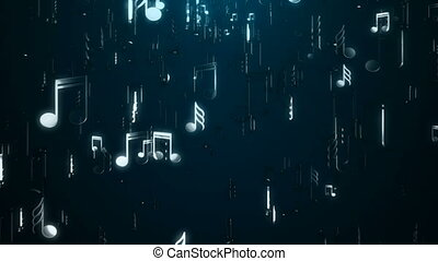 White music notes. Abstract background. Digital...