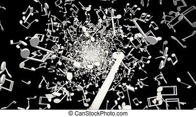 White music notes on black