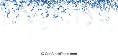 White musical banner with notes.