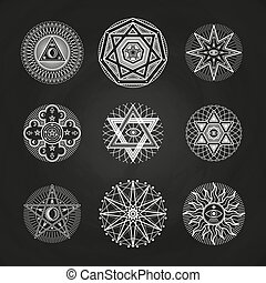White mystery, occult, alchemy, mystical esoteric symbols on blackboard