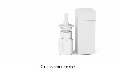 White nasal spray bottle and plastic box - Blank nasal spray...