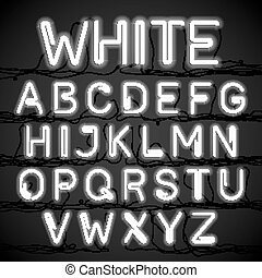 White neon light alphabet